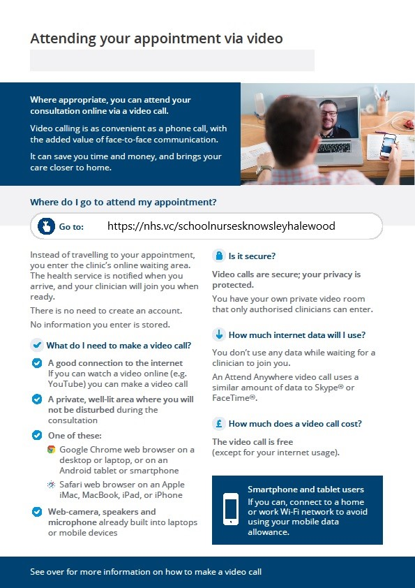 Information on how to attend an online appointment if you are unable to see this information please call the school on 0151 487 5678